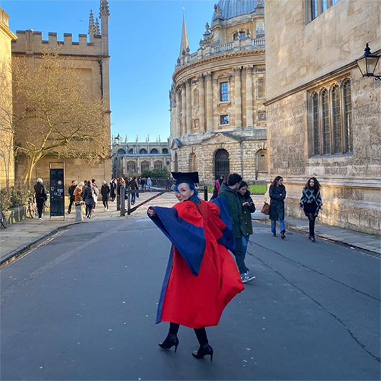 Franziska on graduation day at the Radcliffe Camera