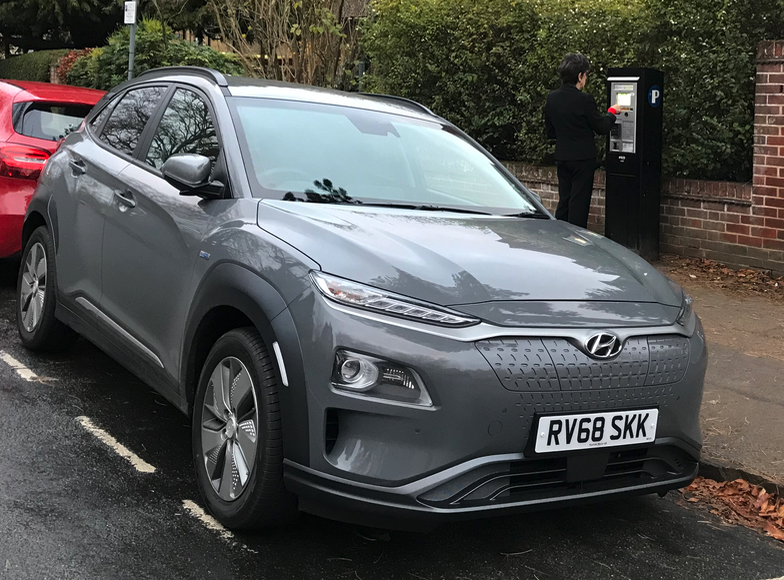 A Hyundai Kona Electric parked on a street in Oxford