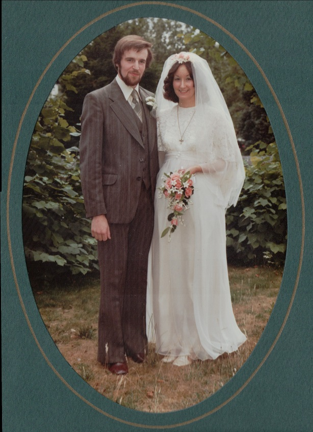 Nicky Bull (nee Harper) with her husband in their wedding photo