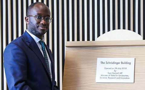 Universities Minister Sam Gyimah opening the Schrödinger Building