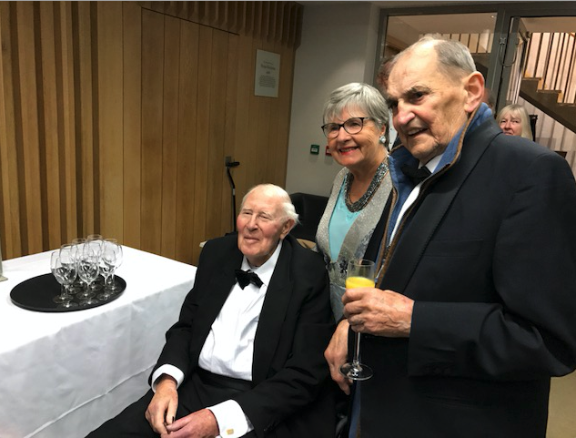 The late Sir Roger Bannister, Brian Wilson, and Terry Slesinski-Wykowski at a drinks reception