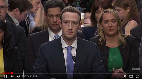 A screenshot from a youtube video of Mark Zuckerberg testifying to the US Congress