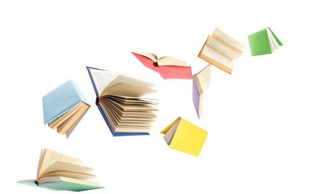 Colourful flying books