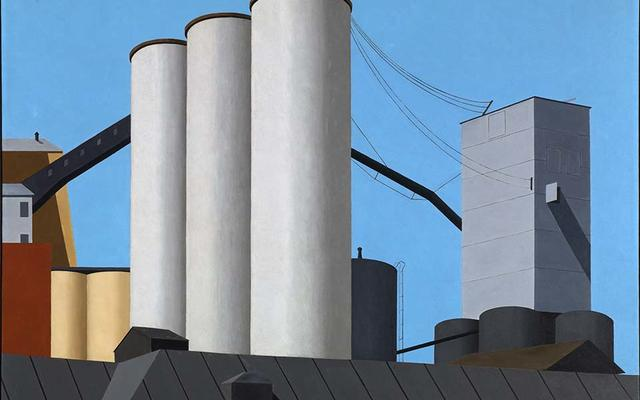 A painting, Ralston Crawford's Buffalo Grain Elevators, (1937)