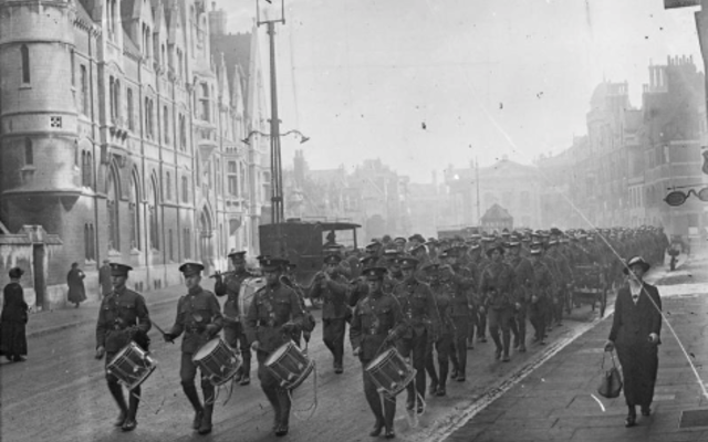 An old photograph of a marching band on Oxford's Broad Street