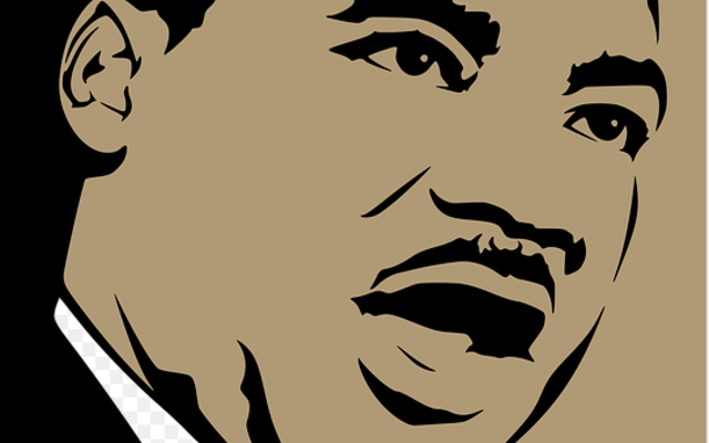 A drawing of Martin Luther King speaking