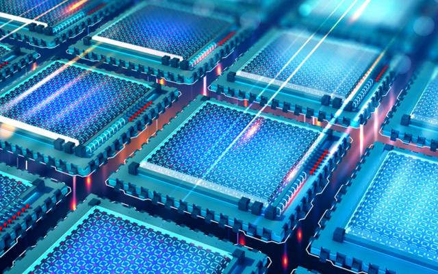 Futuristic CPU. Quantum processor in the global computer network. 3d illustration of digital cyber space