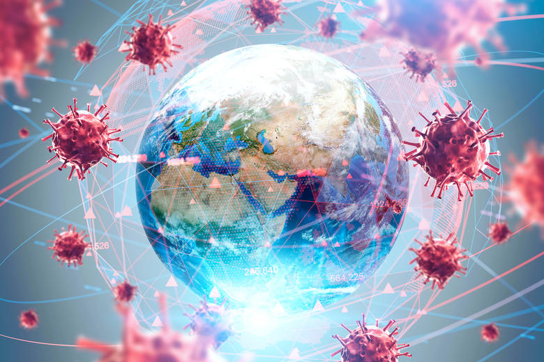 Globes surrounded by a web of COVID-19 (coronavirus)