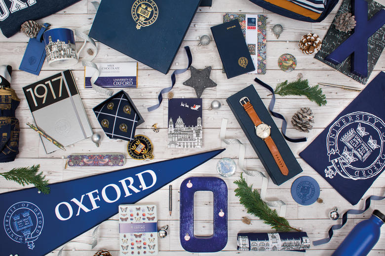A montage of University of Oxford branded merchandise