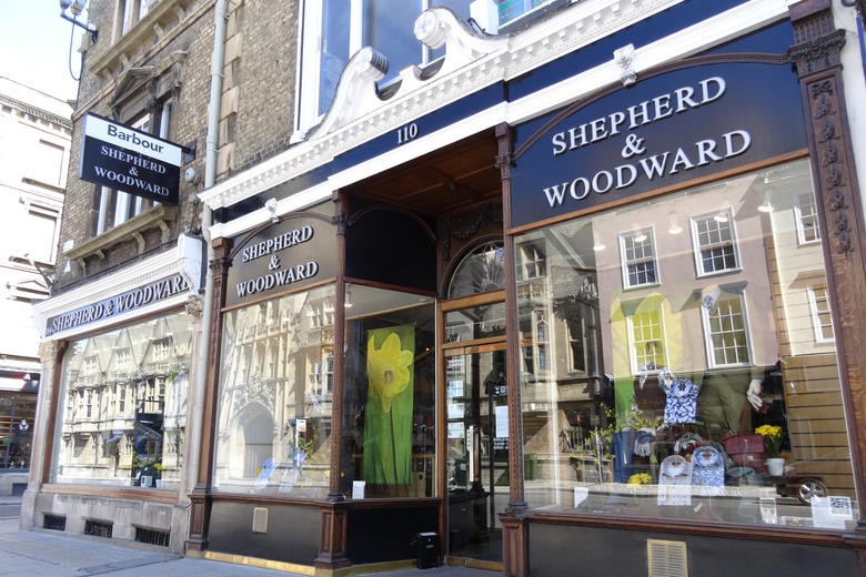 The exterior of the Shepherd and Woodward shop on Oxford's High Street