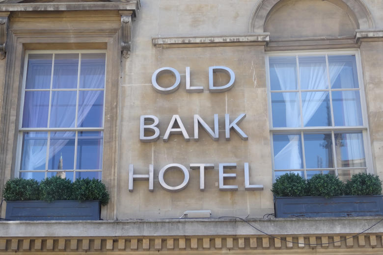 The sign on the exterior of the Old Bank Hotel in Oxford