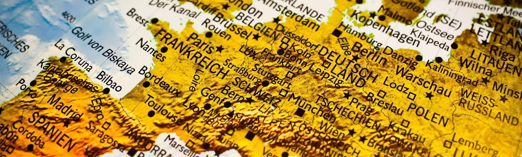 A map of Europe written in German - pixabay