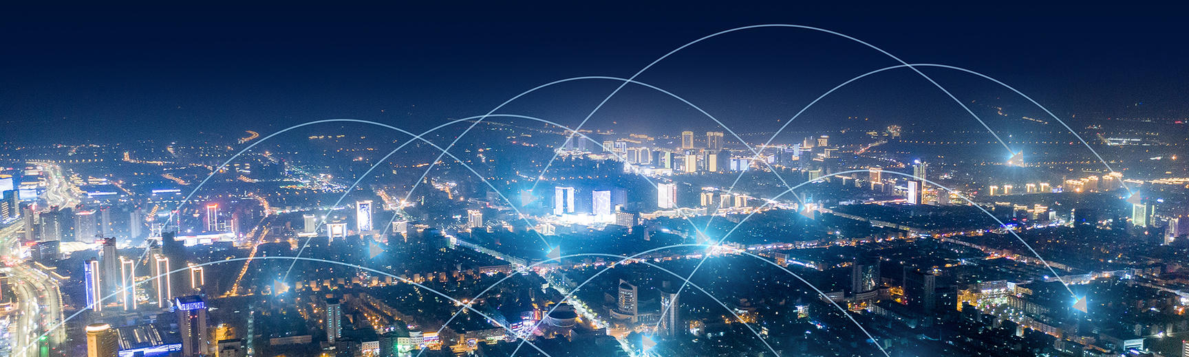 Connected network city at night