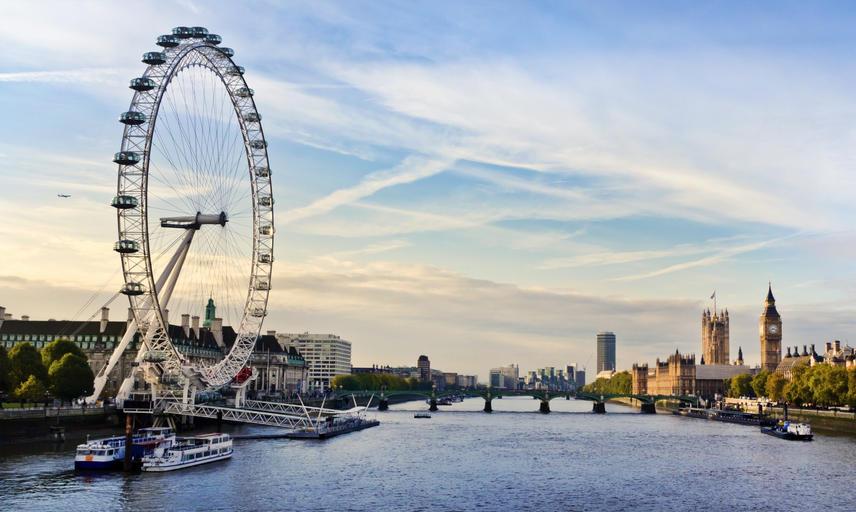 London landscape showing London Eye and Big Ben