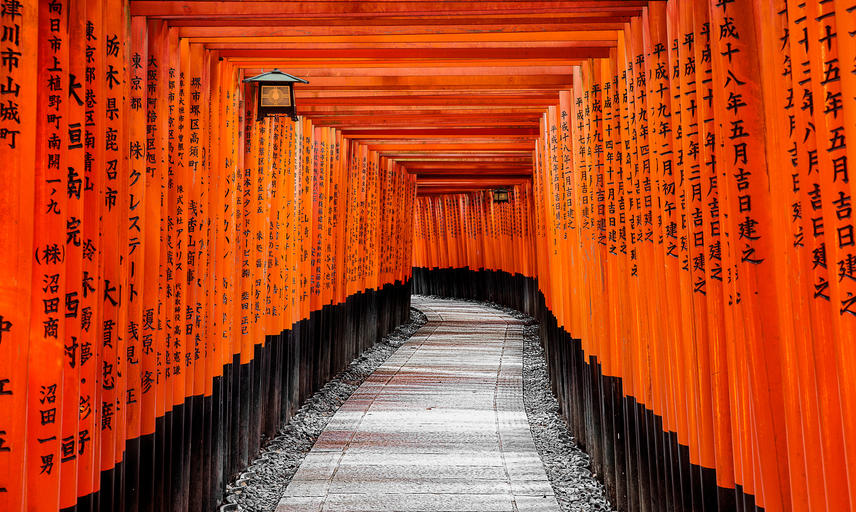 Torii leading to the outer shrine, at the Fushimi Inari-taisha in Kyoto