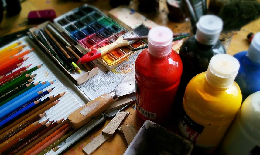 Art supplies, including paints and pencils