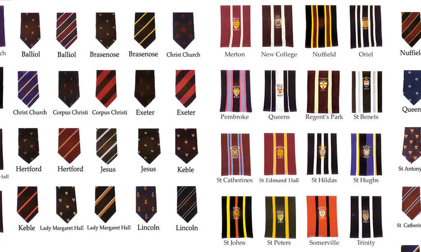 A montage of college scarves and ties available from Walters of Oxford