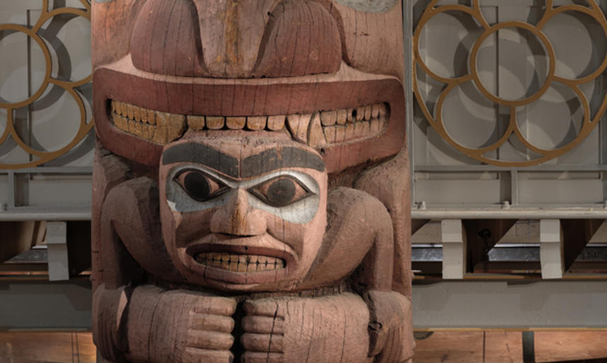 Part of the totem pole in the Pitt Rivers Museum, Oxford, (from Massett village, Haida Gwaii, North West Canada)