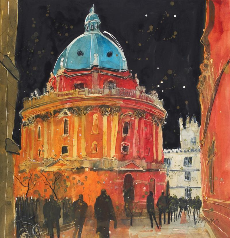 A painting of the Radcliffe Camera at night, with people silhouetted against it