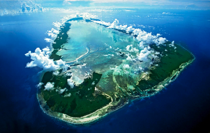 The Aldabra atoll from the air