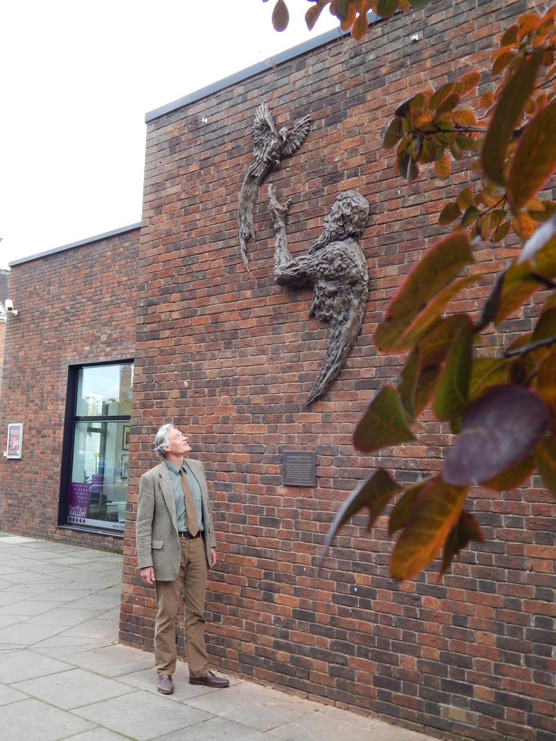 A man looking at a relief wall sculpture of Alfred Russel Wallace
