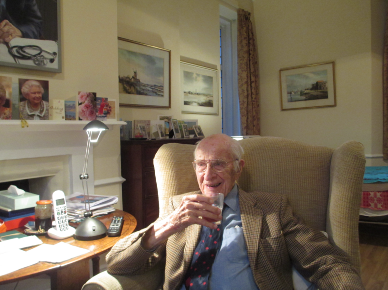 Bill Frankland sat in an armchair at home, holding a small glass of beer