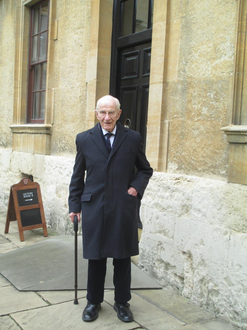 Bill Frankland stood in the Back Quad of The Queen's College