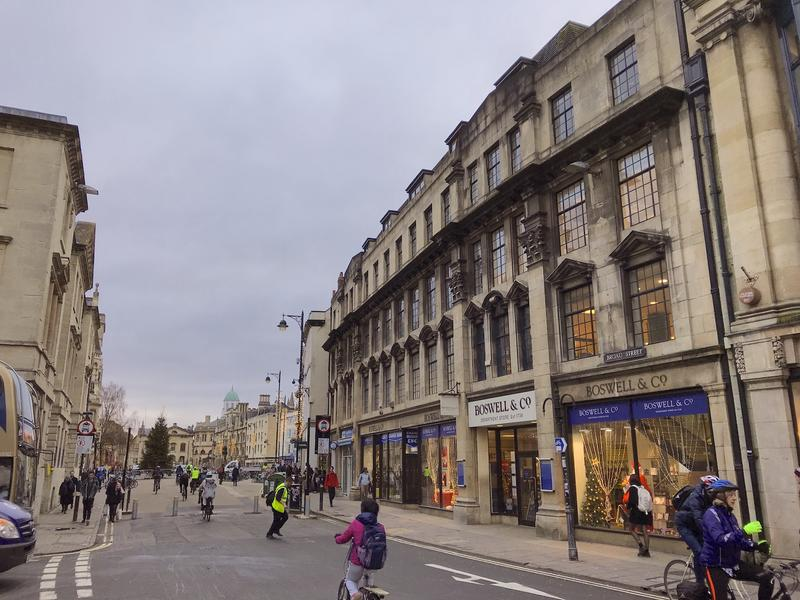 A view up Broad Street in Oxford, with Boswells department store prominent on the right of the picture