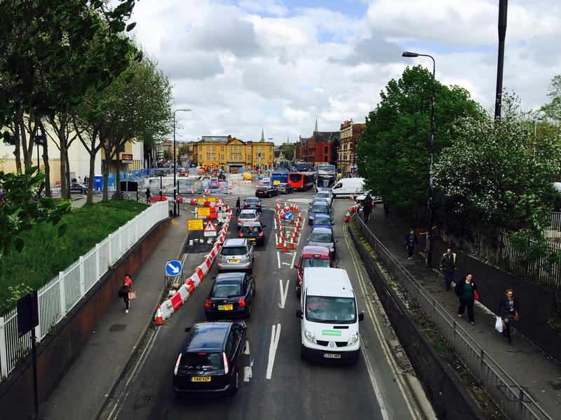 Looking up Botley Road toward Frideswide Square from the pedestrian bridge which crosses the road, with heavy traffic in both directions