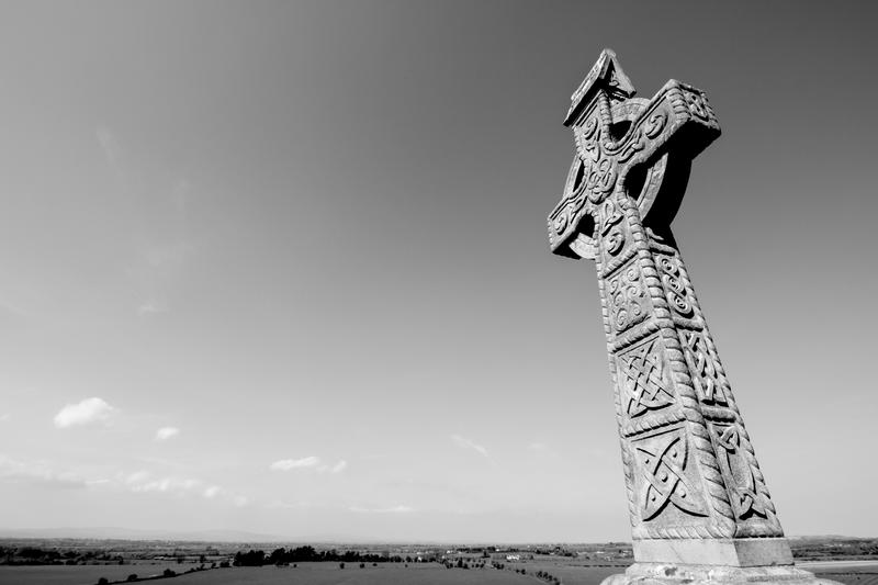 A black and white picture of Celtic Cross at Rock of Cashel, Co. Tipperary, Ireland