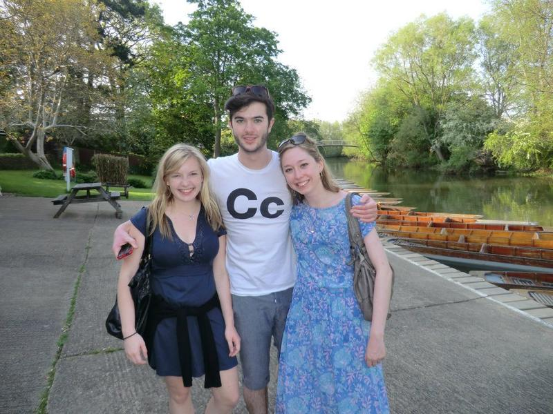 Emma Yandle with two friends, stood by the river