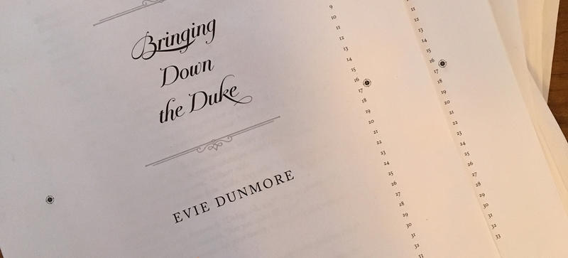The title page of the manuscript for 'Bringing Down the Duke'