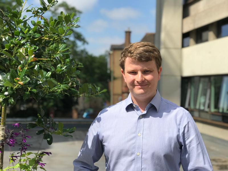 Dr Felix Leach outside the Department of Engineering