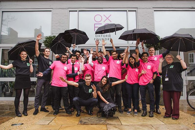 The Oxford Foundry team, stood outside the Foundry entrance