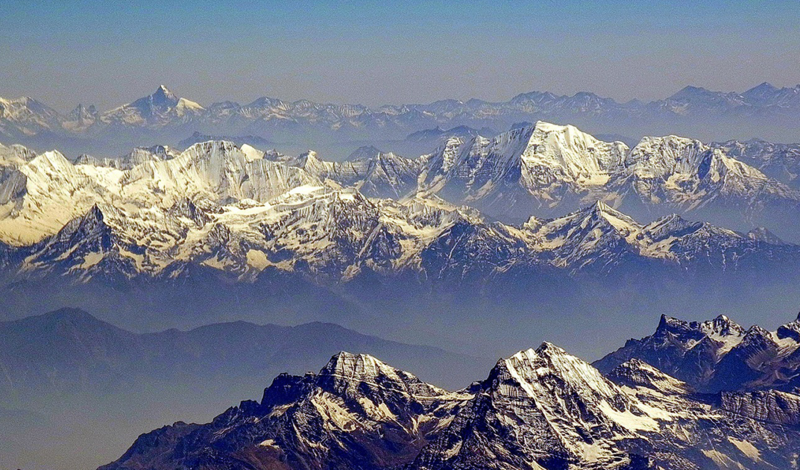 An aerial view of Himalayan peaks