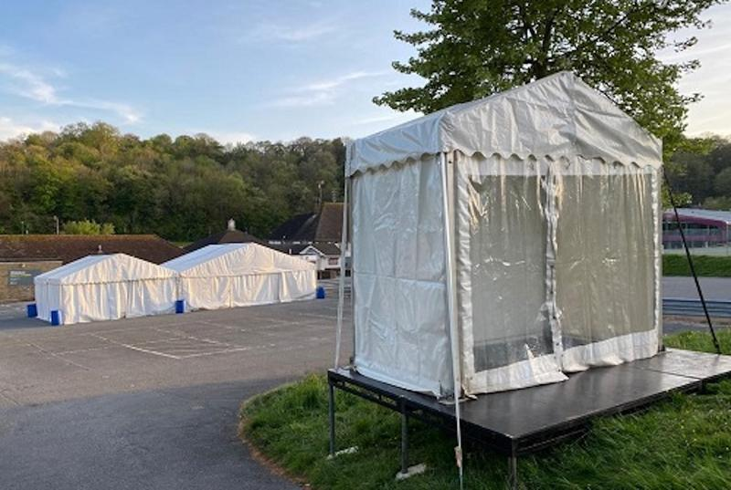 A 'hot hub' - a small plastic booth in an empty car park