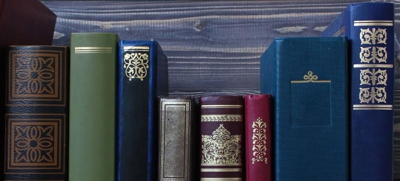 A row of leather bound books