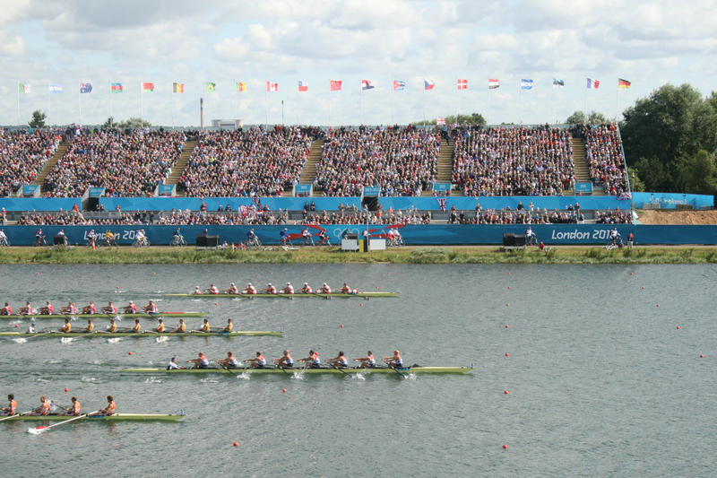 The final stages of the men's eights from the London 2012 Olympics - the Team GB boat is half a length of the other boats in the race