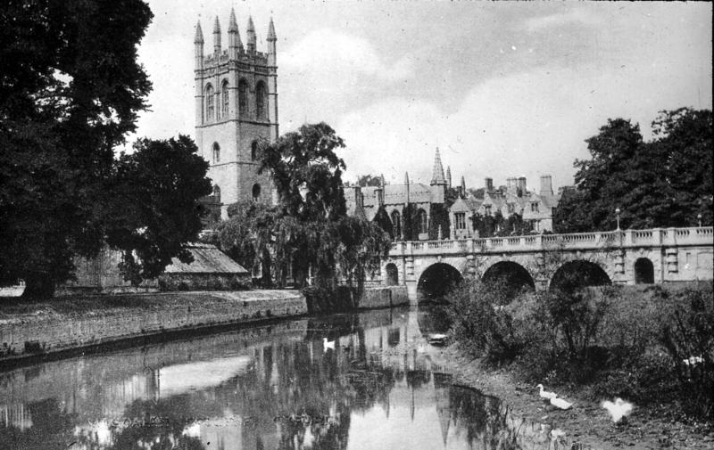 Magdalen College and tower, Oxford, seen from the river Thames, early 1900s
