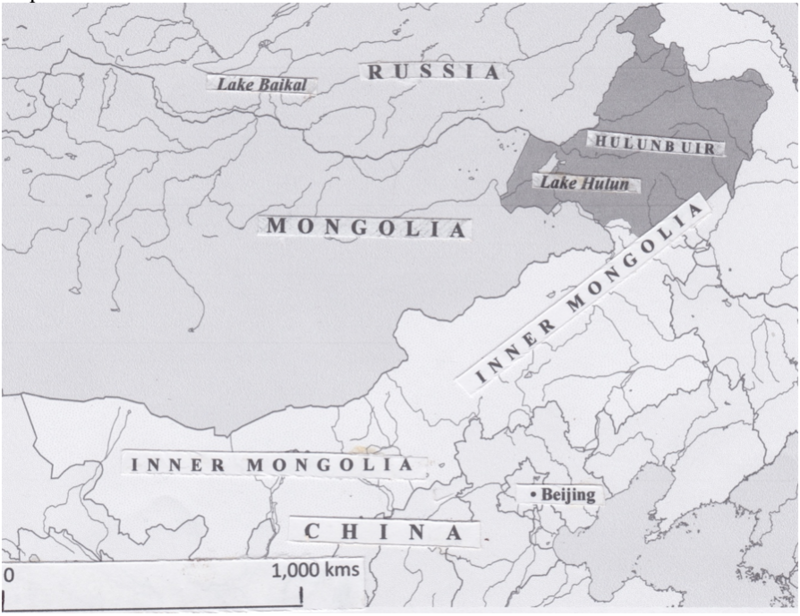 An old map, showing Mongolia's position between China and Russia