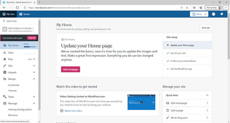 A secreenshot of the 'My Home' webpage on a WordPress site