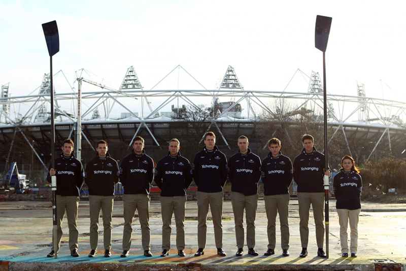 Oxford University rowing team of 2012 stood outside the Olympic Stadium in London