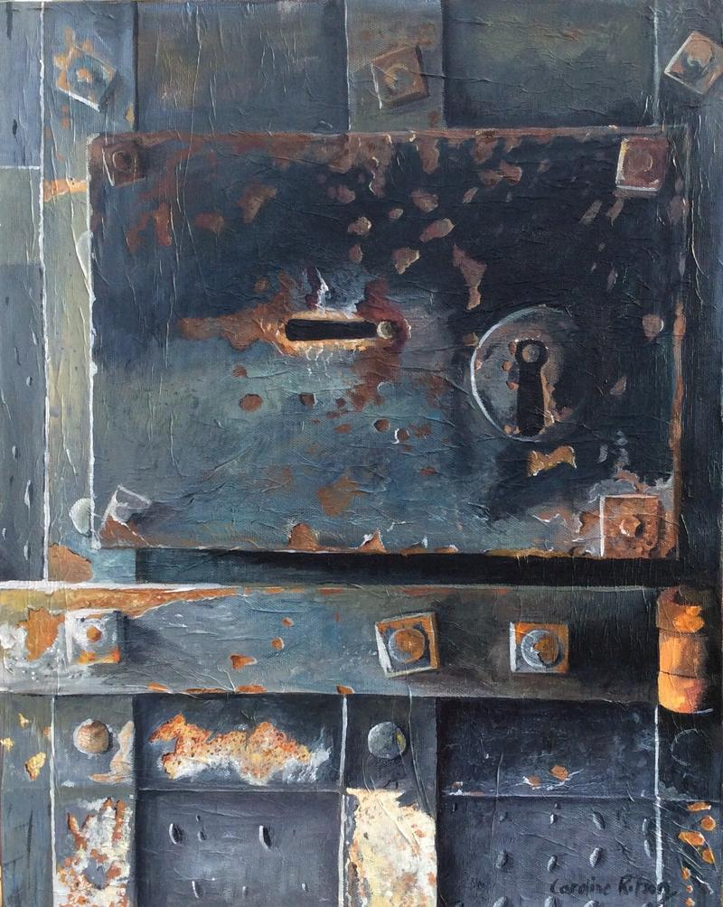 A painting of a door in Oxford Castle