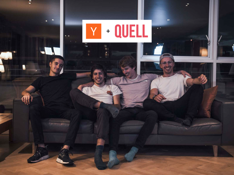 QUELL + Y Combinator pictured: (left to right) Martin Tweedie (CTO), Lorenzo Spreafico (CPO), Cam Brookhouse (CEO) and Doug Stidolph (COO)