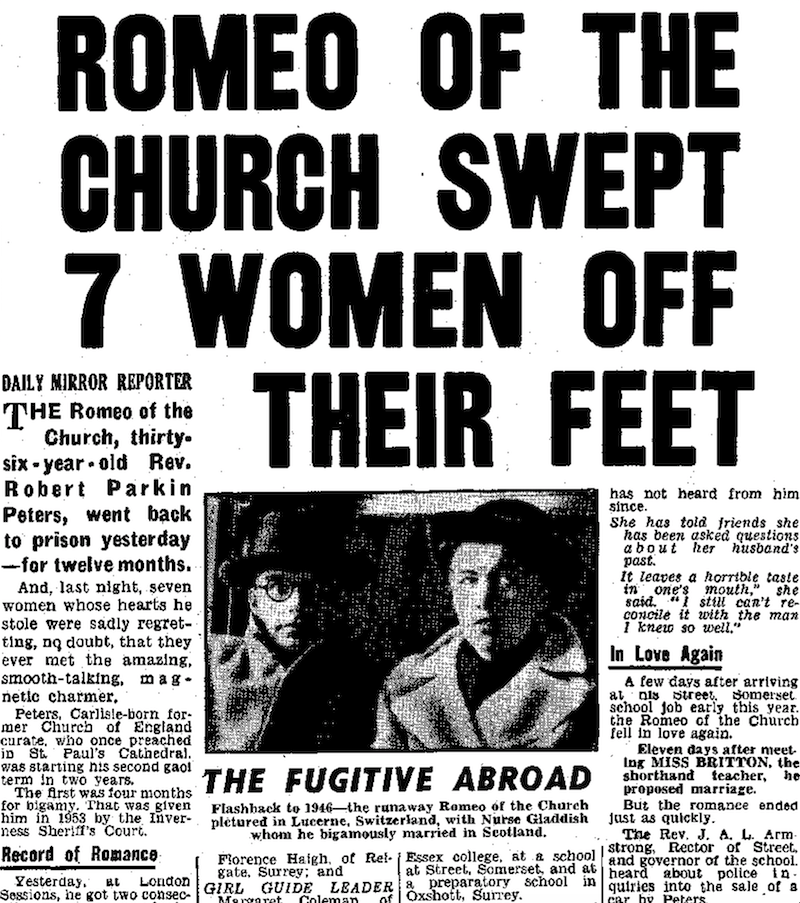 An article from an old newspaper, titled 'Romeo of the church swept 7 women off their feet'