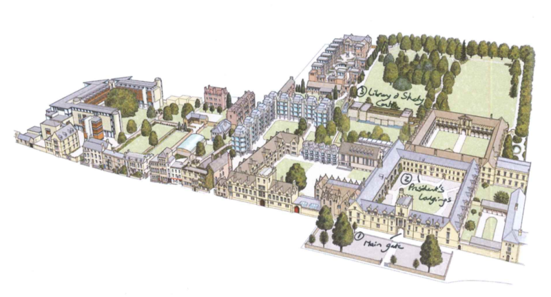 A map of St John's College, with the entrance, President's lodgings and library & study centre marked