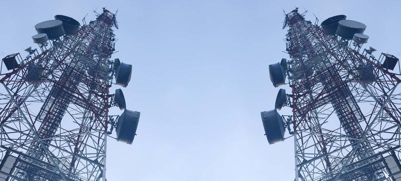 Two television antenna masts