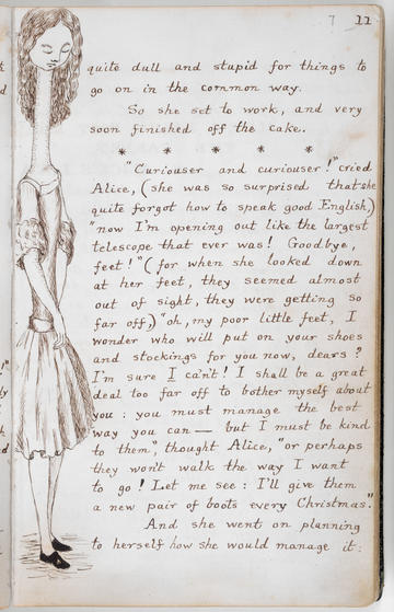 Manuscript page from Alice's Adventures in Wonderland - showing her having grown hugely in height like 'a telescope'
