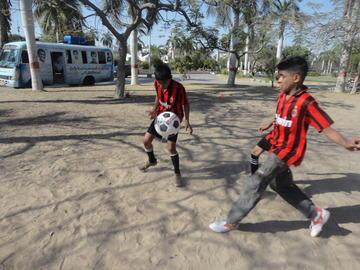 Still from Concrete Dreams of footballers in Karachi