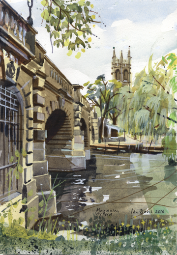 A painting of Magdalen Bridge by Ian Davis
